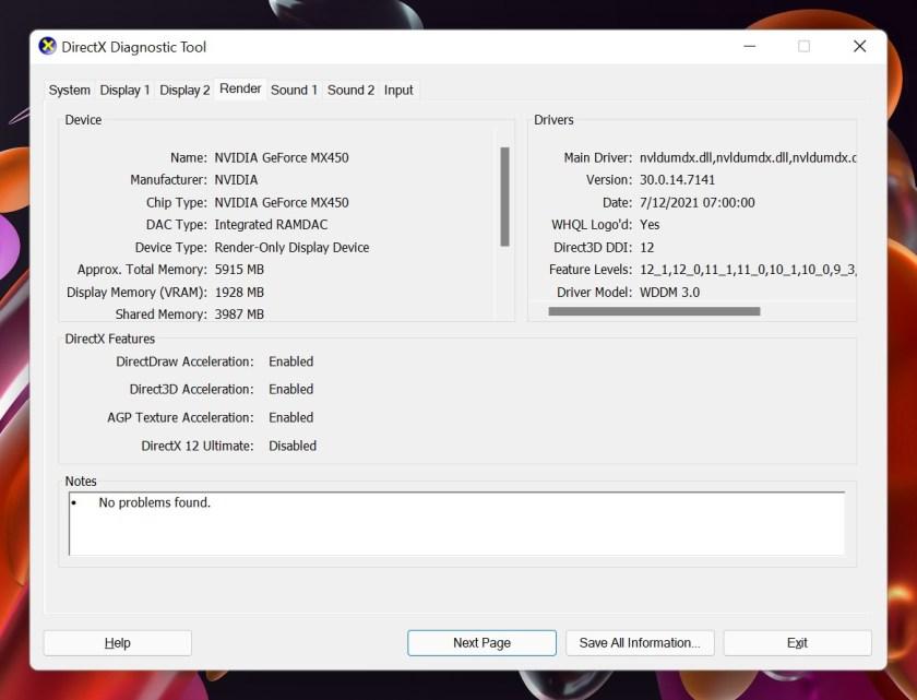 3 Informasi render dari dxdiag
