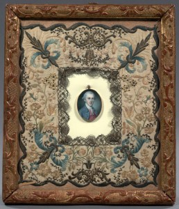 Ivory miniature of Alexander Hamilton, by Charles Wilson Peale, possibly in 1780 on the occasion of his marriage. The embroidered mat has been attributed to Eliza. Image: Columbia University