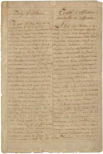 Manuscript copy of the Franco-American Alliance, signed February 6, 1778. Image: Wikipedia