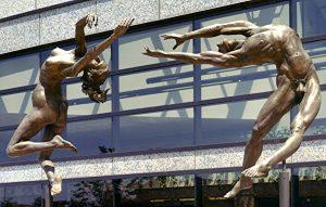 Zenos Frudakis, Reaching. Reaching, Indianapolis Capitol Center Plaza, Indianapolis, Indiana. Two 7 foot high bronze figures. Photo (c) Zenos Frudakis.