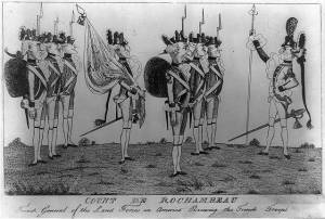 Rochambeau reviewing troops, in a British cartoon of 1780