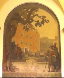 First mural: honors General Alexander McDougall,(d. 1786), first president of the Bank of New York. That's probably Walton House (the BNY's first home) in the background. Photo copyright (c) 2016 Dianne L. Durante