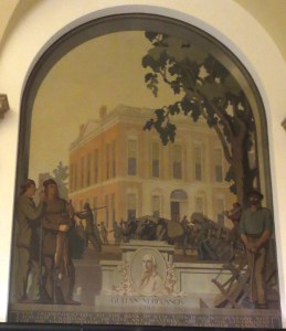 Third mural: honors Gulian VerPlanck (d. 1799), second president of BNY. The building may be the new BNY headquarters at Wall and William Streets. Photo copyright (c) 2016 Dianne L. Durante