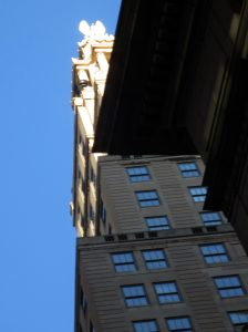 Tower of 48 Wall St., with a federal eagle. Hamilton and his Federalist friends would have appreciated the use of a national symbol. Photo copyright (c) 2016 Dianne L. Durante