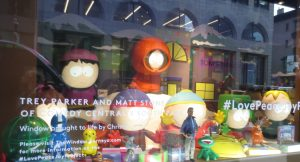 """South Park window at Barney's. They look mind-bogglingly real when they """"talk."""""""
