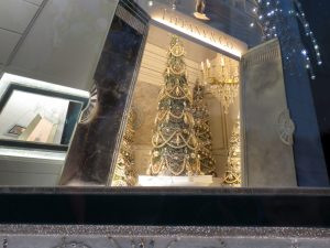 Tiffany's entrance, as shown in one of Tiffany's windows.