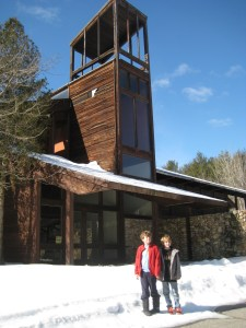 The ski lodge remains a functional building. A little TLC and it could be open for something....