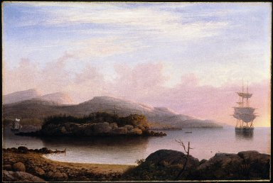 """Noted maritime artist Fitz Henry Lane, of Gloucester, Massachusetts, travelled to Mount Desert and to paint this scene, titled """"Off Mount Desert,"""" in 1856.  (Brooklyn Museum)."""