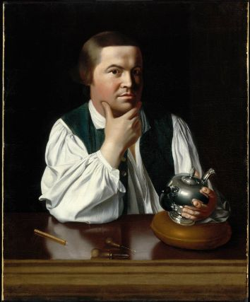 Paul Revere, 1768 portrait by John Singleton Copley.  Revere probably had more gray hair by 1776, but the same intensity.