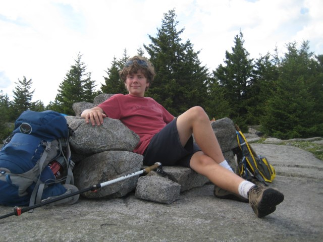 Relaxing in one of the many  stone thrones atop Piper Mountain.