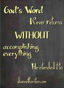 God's Word never returns WITHOUT PV