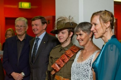In Perth, His Excellency the Governor Malcolm McCusker launched Light Horse Boy. This photo shows Brian Simmonds, His Excellency, a young member of the Westralian Great War Living History Association, Dianne and Tonya McCusker