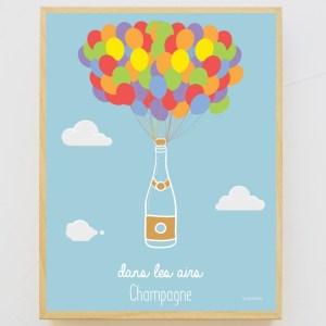 Affiche encadrée 30×40 Champagne dans les airs