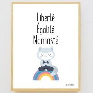 Affiche encadrée Liberté, Egalité, Namasté
