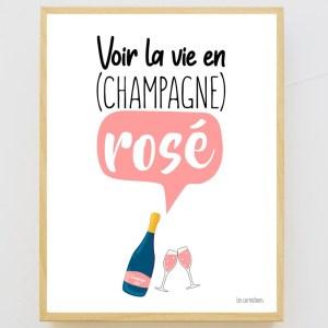 Affiche encadrée La vie en Champagne Rosé