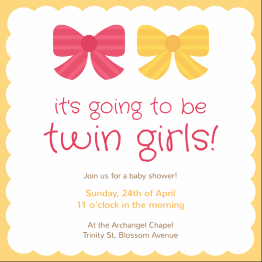 Twin S Baby Shower Invitation Card