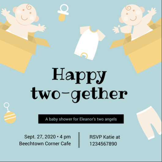 Two Gether Twins Baby Shower Invitation Card