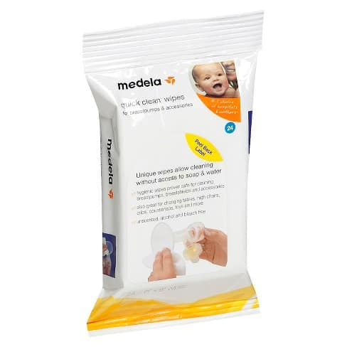 Medela wipes come in handing for cleaning pump parts while traveling
