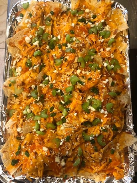 Buffalo Chicken Nachos Ready to Serve