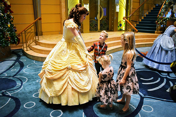 Belle, Disney Cruise, Disney Wonder, Princesses, Mickey Mouse, Atrium, Disney Princesses, 2017 Year in Review, diapersonaplane, diapers on a plane, creating family memories, family travel, traveling with