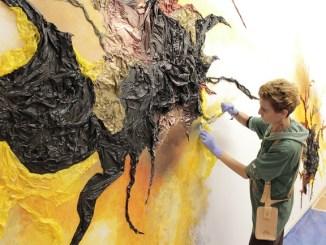 kelly arrontes pintura mural origen de la vida