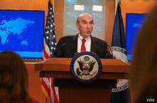 Elliott Abrams, enviado especial de Estados Unidos para Venezuela, en rueda de prensa en el Departamento de Estado. [Foto: Alejandra Arredondo]