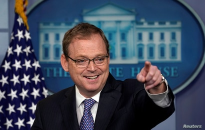 Trump economic adviser Kevin Hassett gestures as he speaks during a news briefing at the White House in Washington, U.S.,…