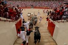 Corredores y toros llegan a la plaza de toros durante el octavo y último encierro de las fiestas de San Fermín en Pamplona, en el norte de España, el domingo 14 de julio de 2019. (AP Foto/Álvaro Barrientos)