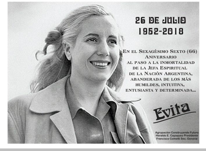 A 66 años del fallecimiento de Evita - DiarioNCO La Matanza