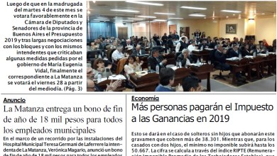 Photo of Tapa edición impresa de Diario NCO del 10-12-2018