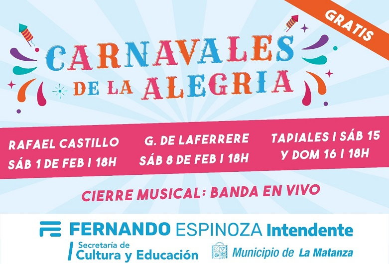 """""""Carnavales de la Alegría"""": comienzan los Pre Carnavales en La Matanza"""