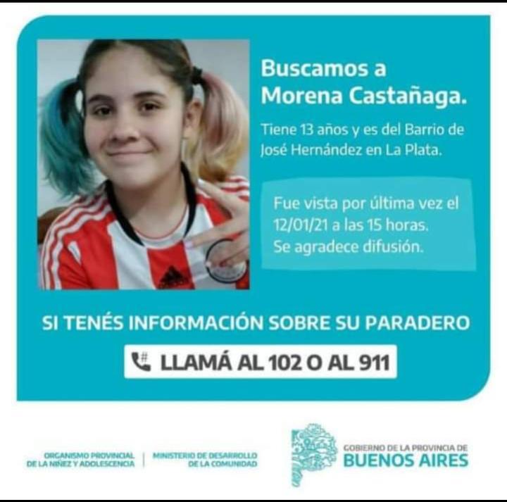 Búsqueda incesante de una adolescente en la localidad de La Plata