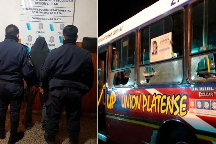 En La Plata un hombre destrozó cuatro micros y golpeó a un chofer porque le molestaba que pasen por la esquina de su casa