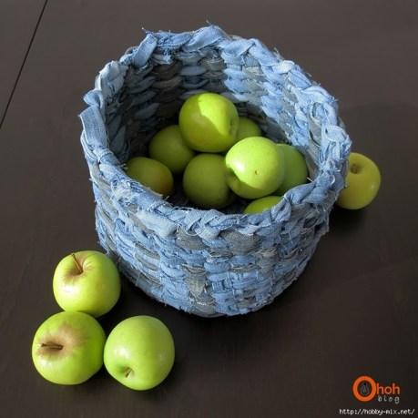 Ideas para reciclar vaqueros cestos con tela de jean trenzada