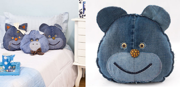 Ideas para reciclar vaqueros almohadones con forma de cabeza de oso