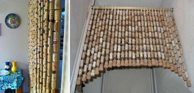 ideas para reciclar corchos cortina