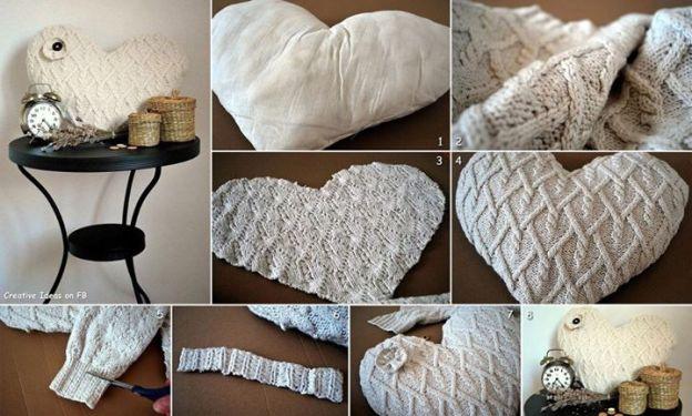 Corazón hecho con reciclaje de tejidos