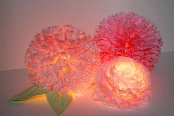 Lamparas de papel flores