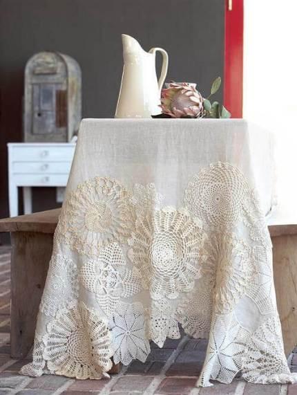 Ideas para decorar con crochet mantel con círculos de ganchillo