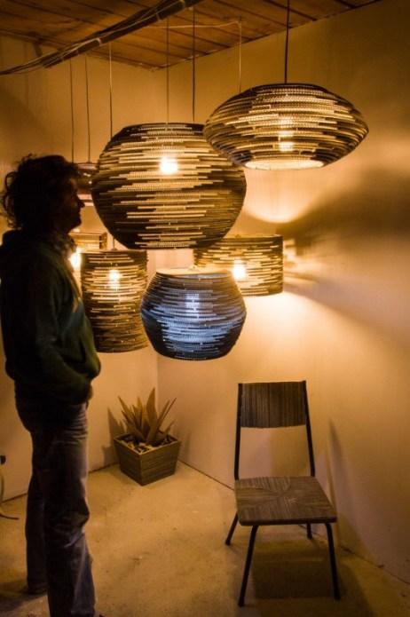 Ideas para reciclar cartón, diseños de lámparas originales de cartón reciclado