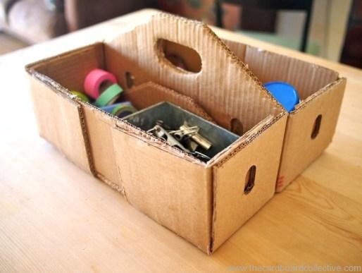 Ideas para reciclar cartón, modelo de organizador hecho con reciclaje de cartón