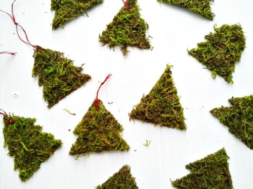 Adornos de navidad con musgo