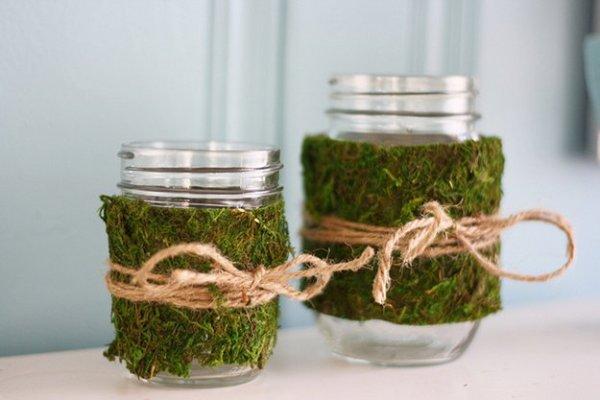 Cómo secar musgo para decoración, idea para decorar frascos con musgo