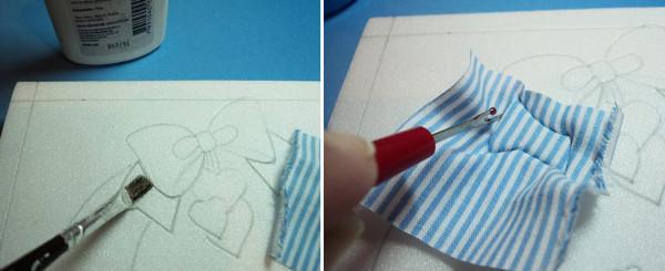 Insertar la tela en los cortes