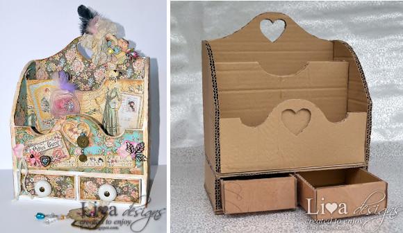 Organizador vintage con decoupage de cartón reciclado