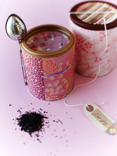 Ideas para reciclar latas, idea para hacer un recipiente donde guardar el té