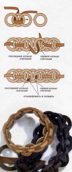 técnicas para hacer pulseras de cuero entramadas 12