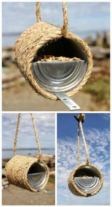 Ideas para reciclar latas, idea para hacer un comedero de aves con una lata e hilo sisal