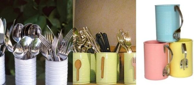 Ideas para reciclar latas, latas pintadas para guardar los cubiertos y tazas originales hechas con latas y cubiertos