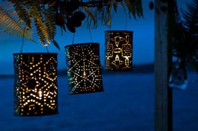 Faroles decorativos para el jardín de latas recicladas